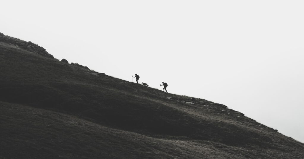 Hikers going uphill