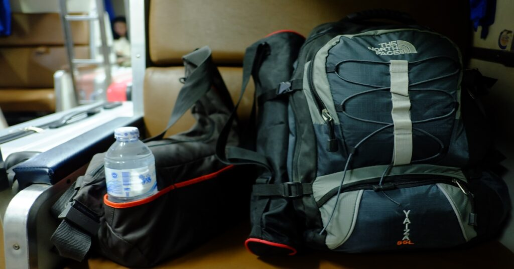 hiking backpack with water bottle